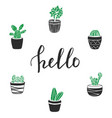cactus with lettering hello vector image