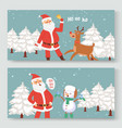 cartoon santa claus indeer and snowman vector image vector image
