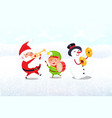 christmas characters with musical instruments vector image vector image
