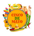 cinco de mayo poster with mexican holiday symbols vector image vector image