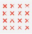 cross icon set vector image vector image