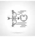 Cupids arrow shoots heart flat line icon vector image vector image