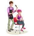 cute barber character vector image vector image