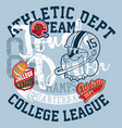 cute bulldog american football college league vector image vector image