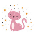cute cat isolated children print vector image vector image
