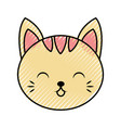 cute scribble cat face cartoon vector image vector image