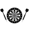 darts board and darts arrows black icon vector image