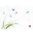 dragonflies flying over the grass on rice paper vector image vector image