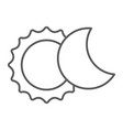 eclipse thin line icon space and astronomy solar vector image vector image
