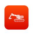 excavator icon digital red vector image vector image