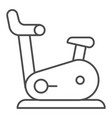 exercise bike thin line icon gym bicycle vector image