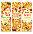 fast food banner with frame of lunch meal drinks vector image vector image