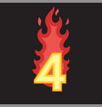 flaming number four vector image vector image