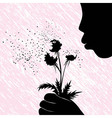 Girl women or kid blowing on dandelion flower vector image