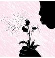 Girl women or kid blowing on dandelion flower vector image vector image