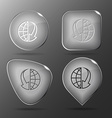 Globe and array down Glass buttons vector image vector image