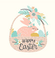 happy easter template with easter bunny vector image vector image