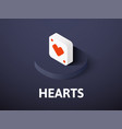 hearts isometric icon isolated on color vector image vector image