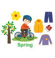 isolated spring set with boy tree and clothes vector image