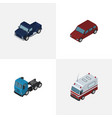 isometric car set of truck first-aid car and vector image vector image