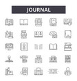 journal line icons signs set outline vector image vector image