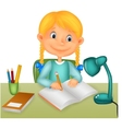 Little girl studying vector image