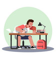 man hard working and studing vector image vector image