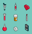 medical flat outline isometric set vector image