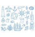 nautical collection sailing boats hand drawn vector image