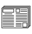 newspaper icon outline style vector image vector image