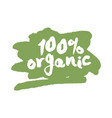 one hundred percent organic label on a scribble vector image vector image
