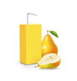 pack of pear juice with drinking straw vector image vector image