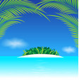 Paradise tropical island with coconut leaves vector image vector image