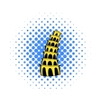Pisa Tower icon comics style vector image vector image