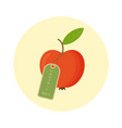 red apple with tag 100 percent organic isolated vector image vector image