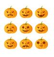 Set of 9 carved pumpkins vector image