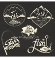 set of fishing club labels design elements vector image
