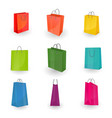 set of paper colorful shopping or gifts bags vector image