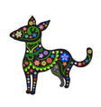 silhouette of dog with ethnic pattern vector image