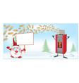 stove christmas mascot with santa claus cartoon vector image vector image