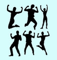 success winning and health people silhouette vector image vector image