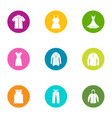 summer clothing icons set flat style vector image vector image