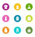 summer clothing icons set flat style vector image