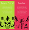summer festival rock fest collection of posters vector image vector image