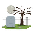 tombstone cemetery with full moon vector image