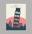 tower of pisa italy vintage style landmark poster vector image