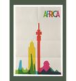 Travel Africa landmarks skyline vintage poster
