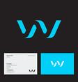 w logo blue volume monogram letter web wave vector image vector image
