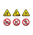 warning hazard and prohibited signs vector vector image