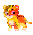 watercolor tiger colorful isolated on white vector image vector image
